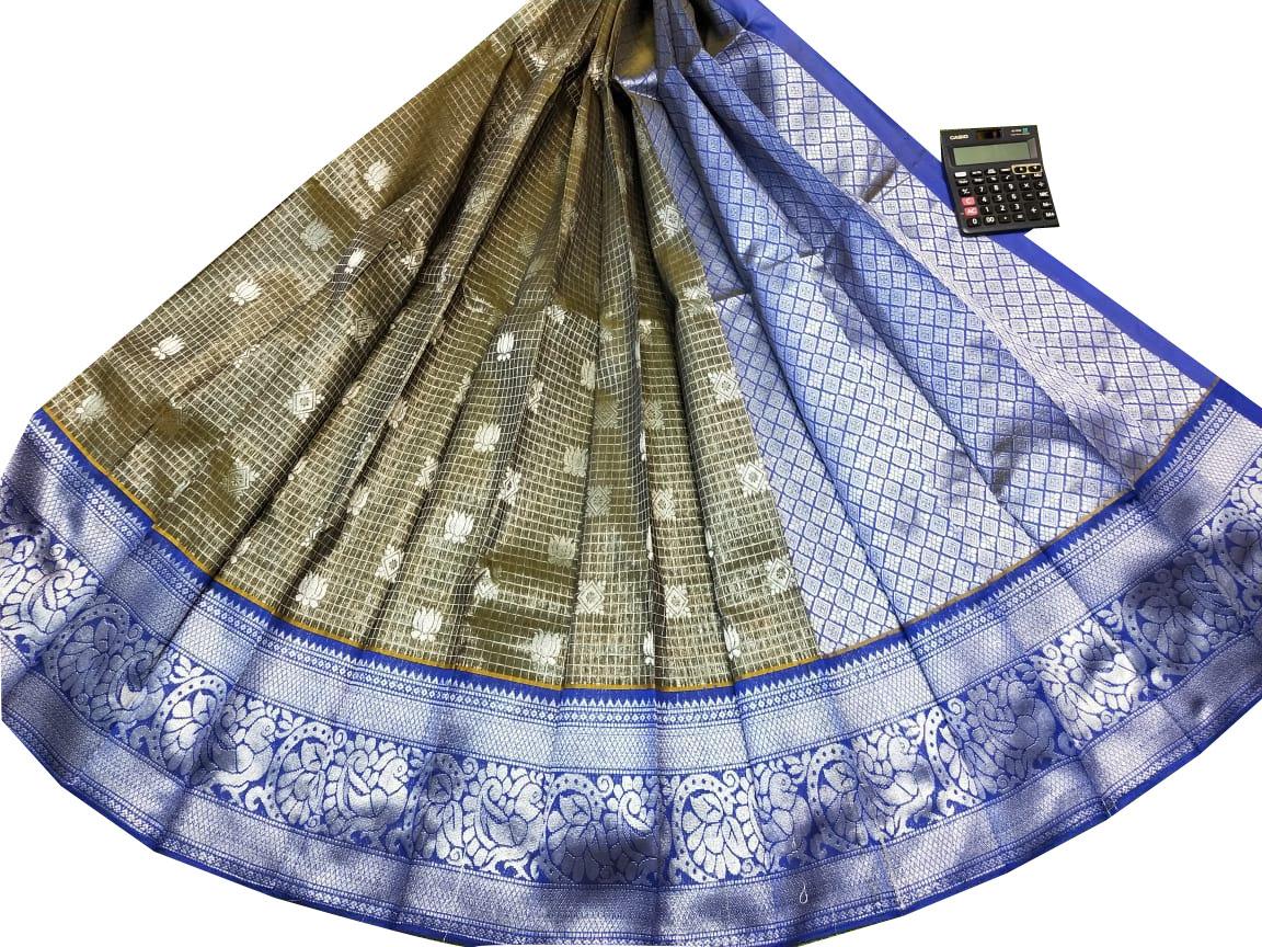 Gray and Blue chanderi kanchi kuppadam bridal look saree