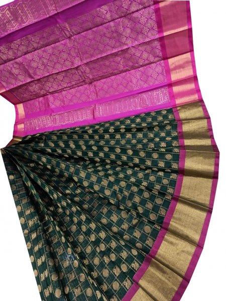 Black and purple chanderi kuppadam checks butta modal saree