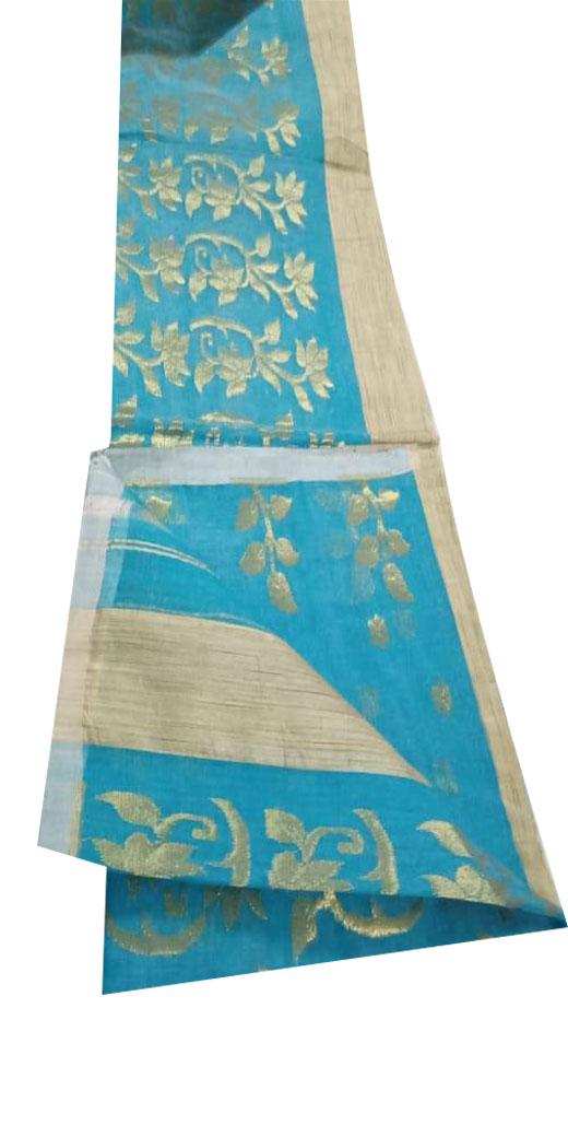 Sky blue Muslin jamdani saree with golden floral design