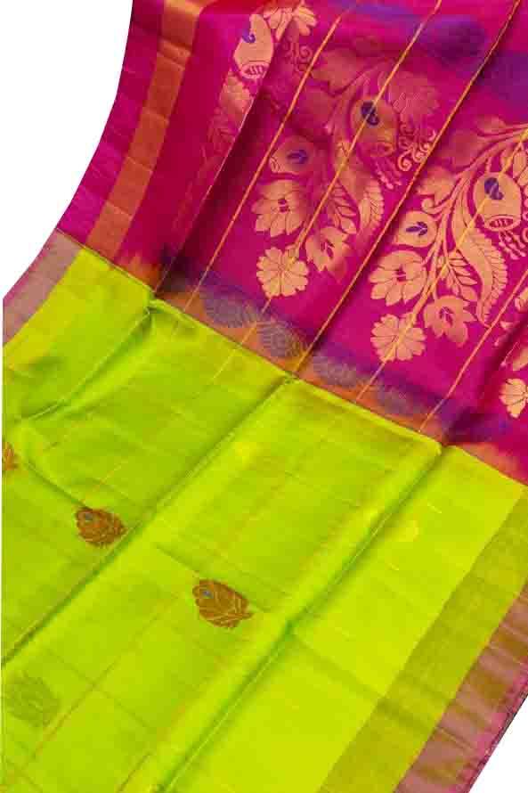 Lime green and pink uppada all over checks, rich pallu saree