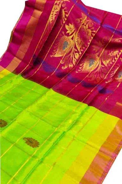 Lime green and red uppada all over checks, rich pallu saree