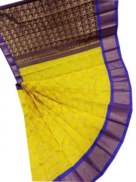 Yellow and Gray chanderi kuppadam checks butta modal saree