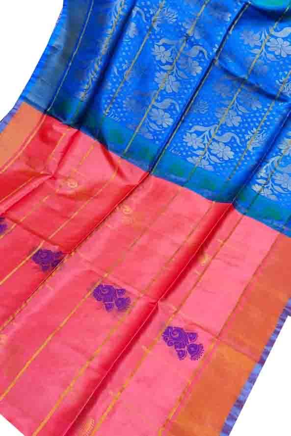 Carrot orange and blue uppada all over checks, rich pallu saree