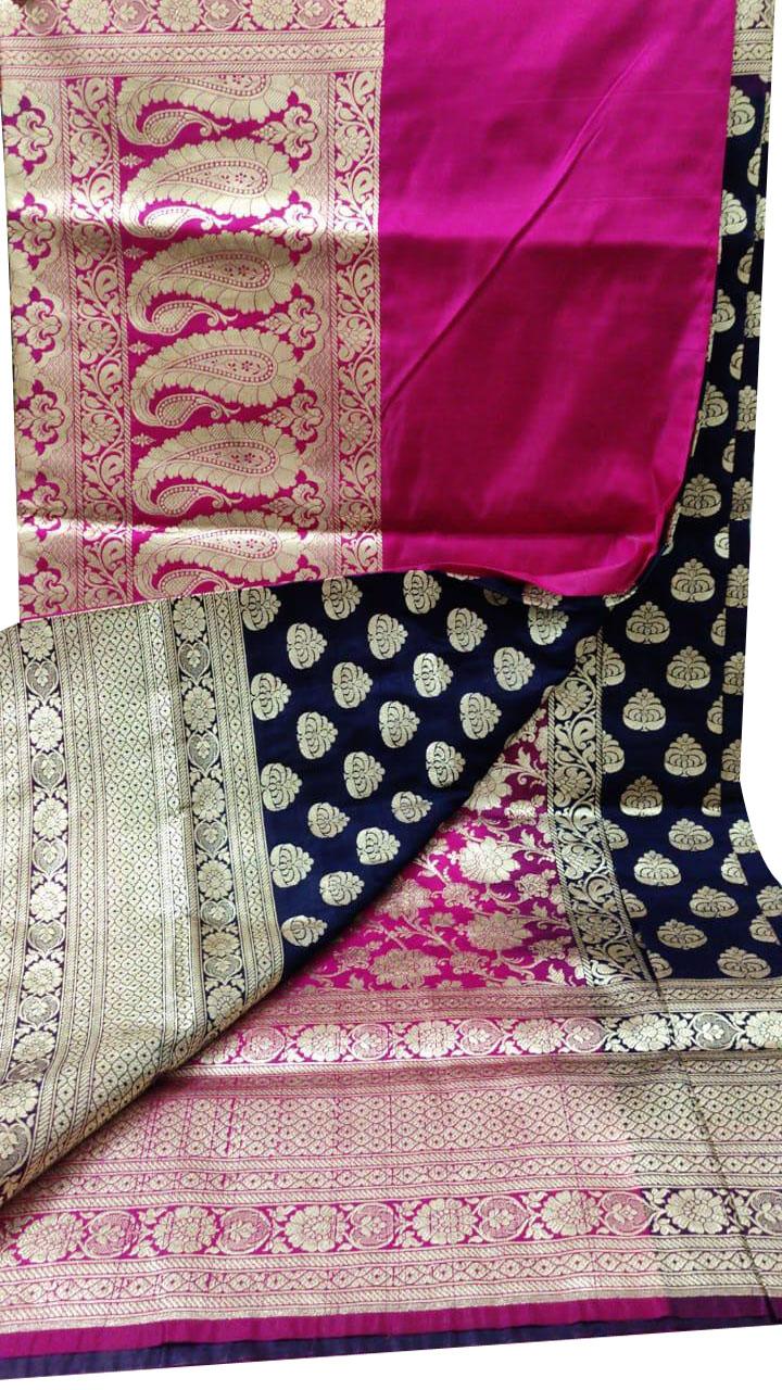 Pink and Black katan Banarosi saree