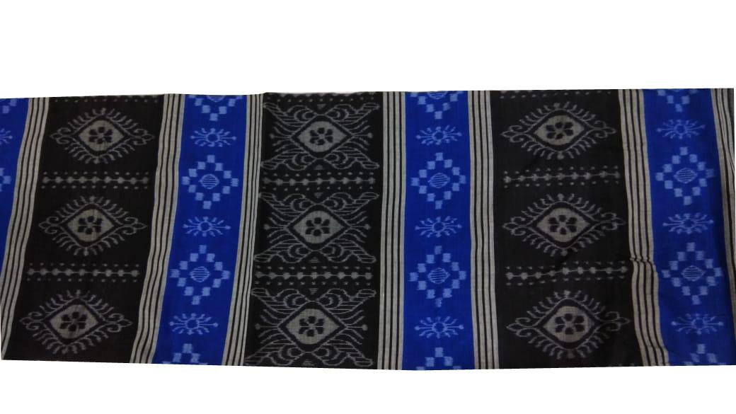 Blue, black and gray bandha cotton saree