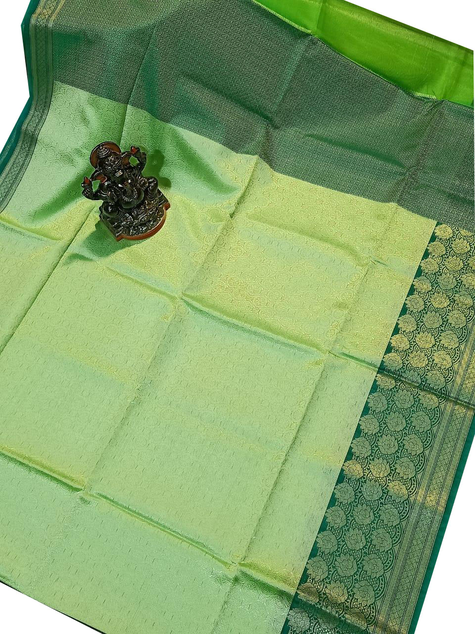 Mint green and Forest green kora silk saree with  kuppatam border