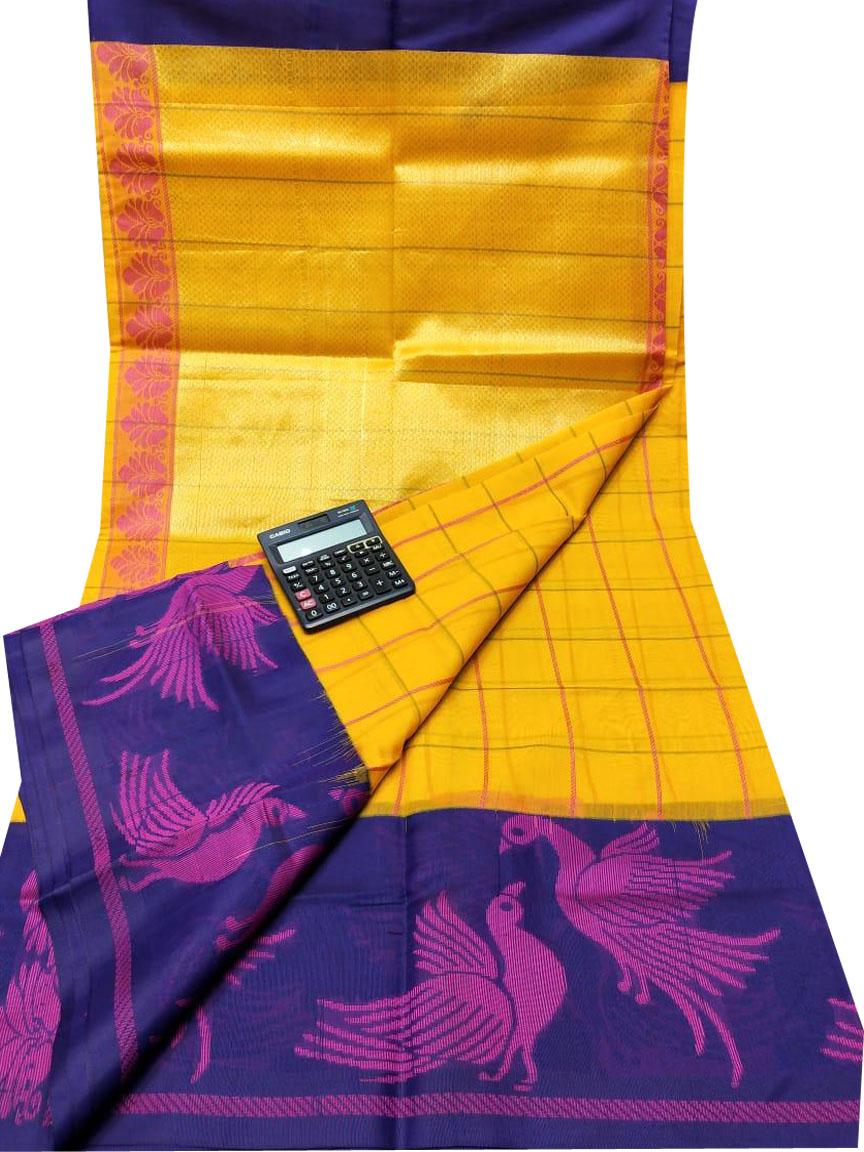 Yellow and blue chanderi kuppadam all over checks saree