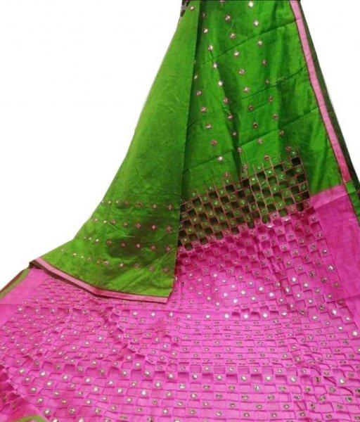 Green & Pink Cotton Silk Cut Work Saree