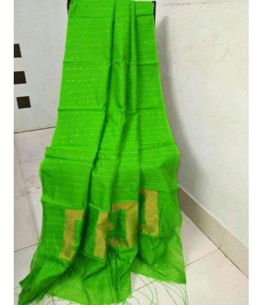 Green Handloom Sequence Saree