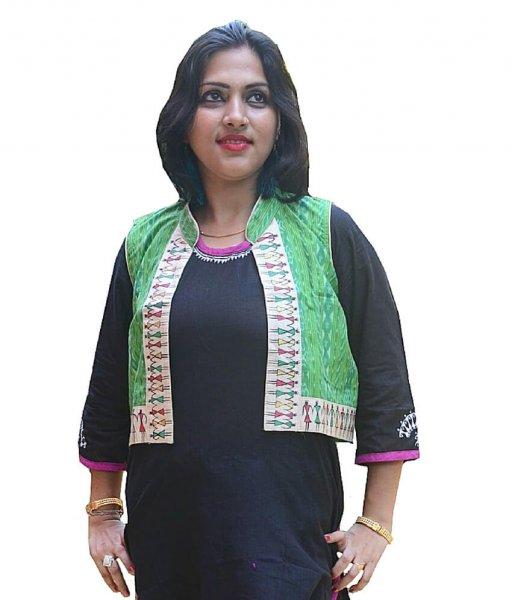 Green Ikat Soura Painting Waistcoat