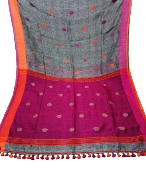 Grey & Pink Buti Bol Linen Saree