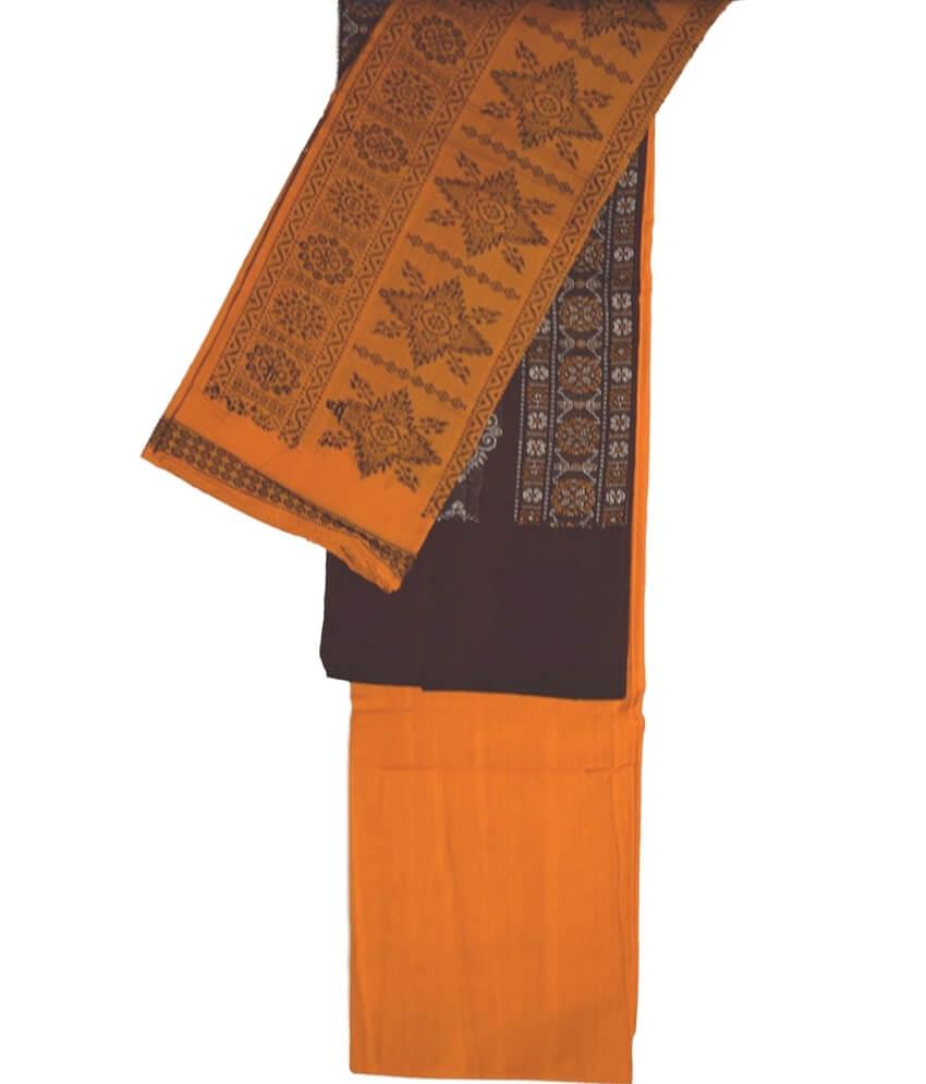 Maroon Yellow Ikat Bandha Suit Piece