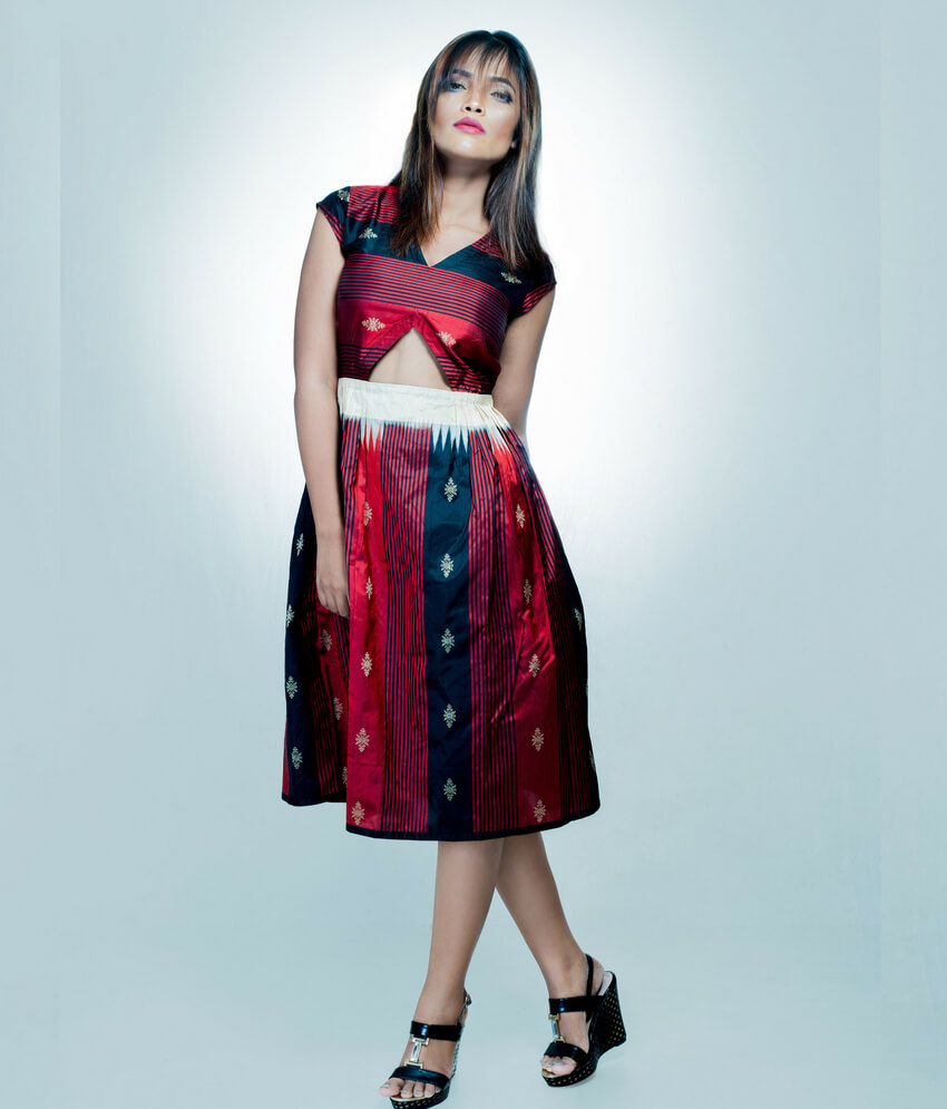 Stripes Ikat Short Dress