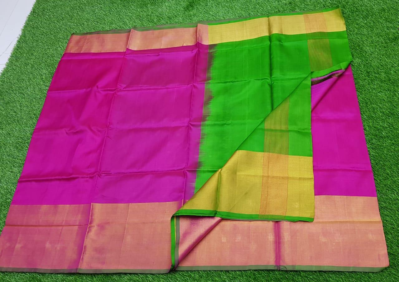 Pink and Green uppada pure pattu with big zari border saree