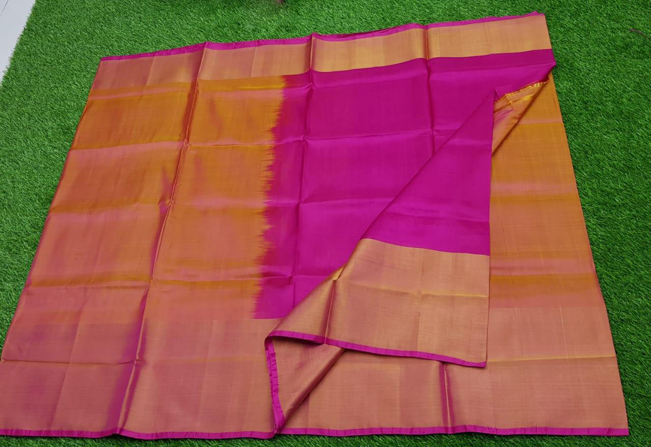 Pink and Mustard Yellow uppada pure pattu with big zari border saree
