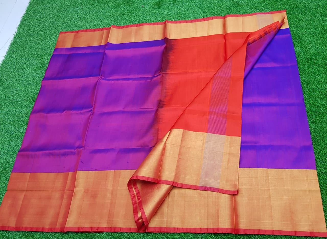 Violet and Red uppada pure pattu with big zari border saree