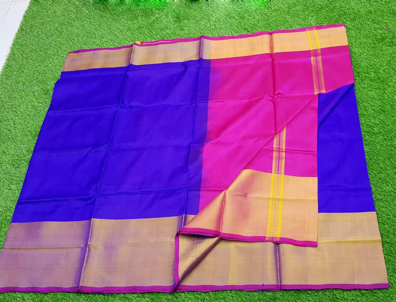 Pink and Blue uppada pure pattu with big zari border saree
