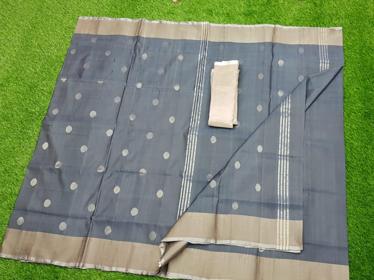 Gray uppada pure soft pattu with silver border saree