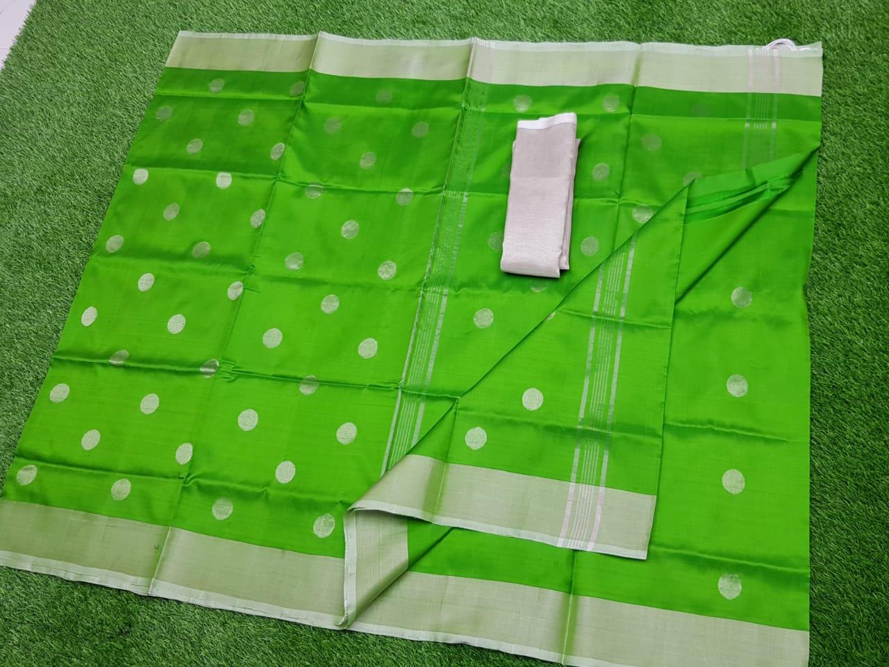 Green uppada pure soft pattu with silver border saree