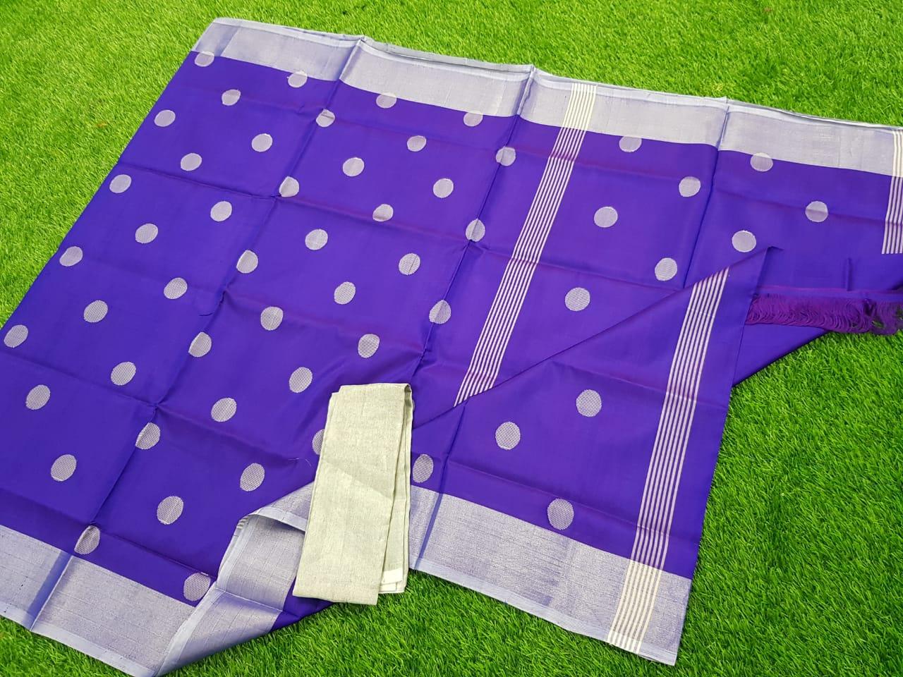 Blue uppada pure soft pattu with silver border saree