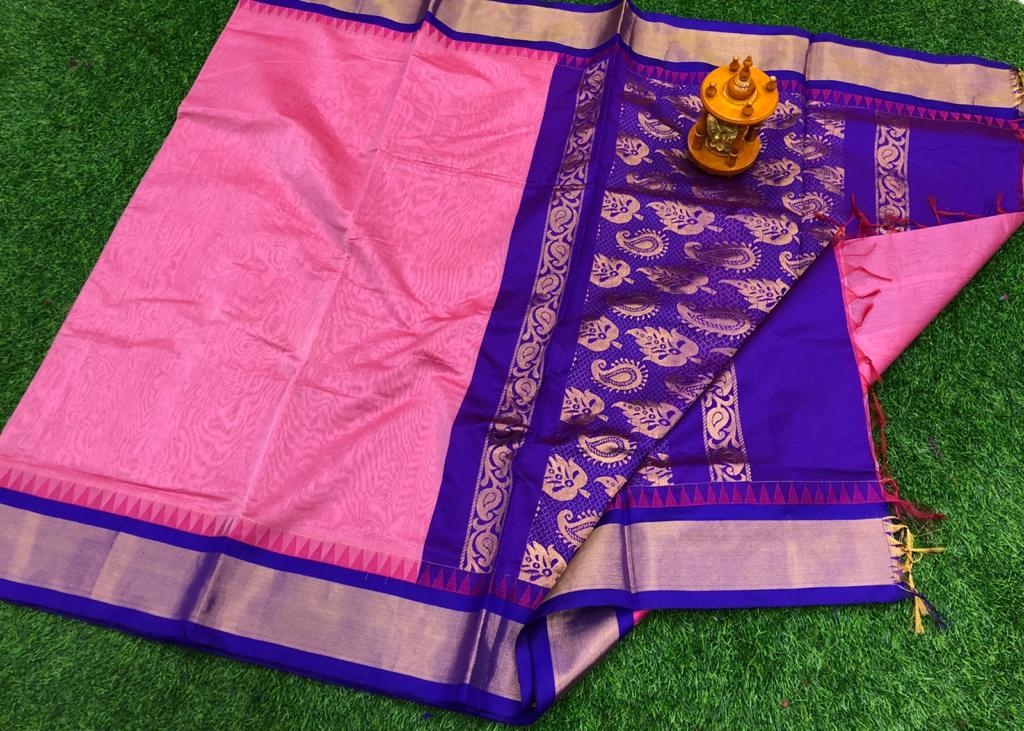 Pink and blue chanderi kuppadam temple border saree