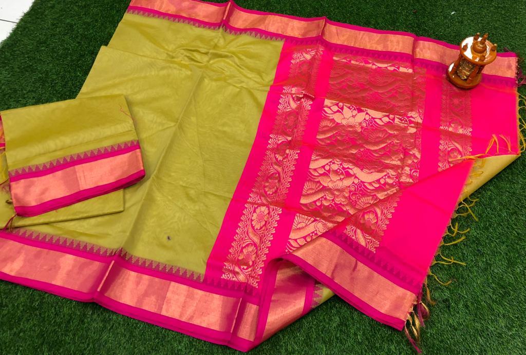 Olive green and pink chanderi kuppadam temple border saree