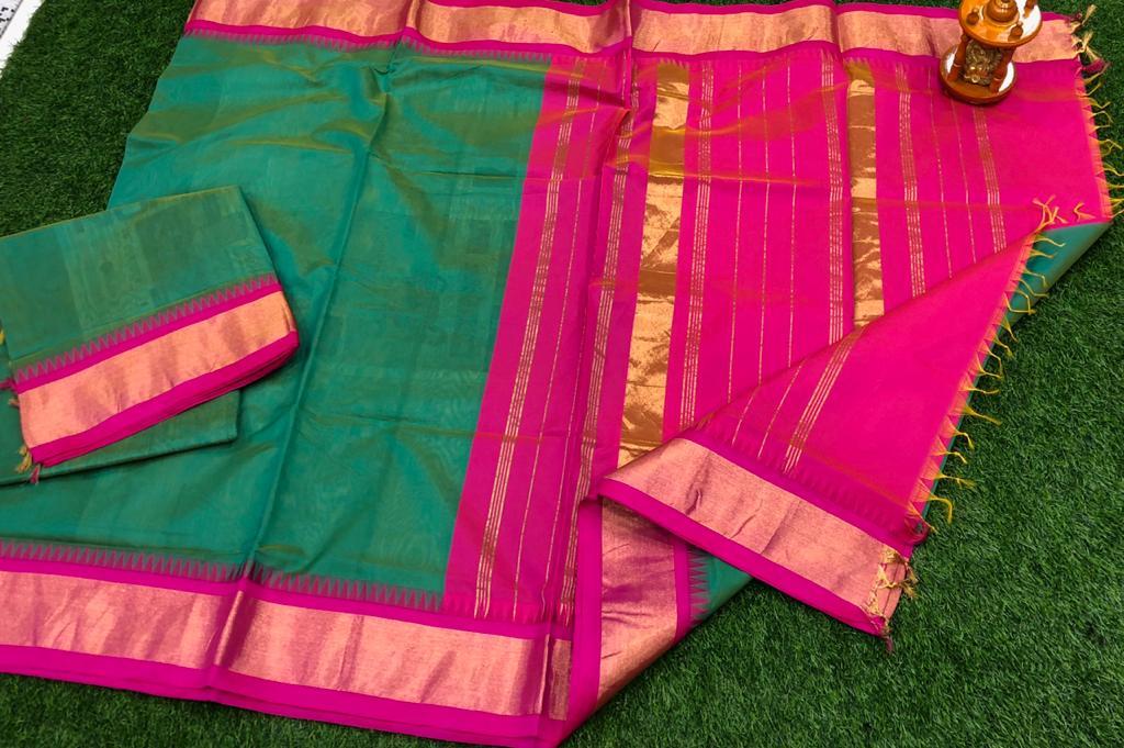Green and pink chanderi kuppadam temple border saree