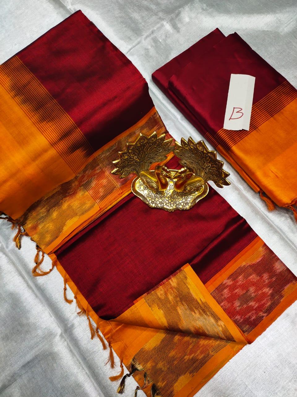 Maroon and Orange Tripura silk saree with pochampalli border