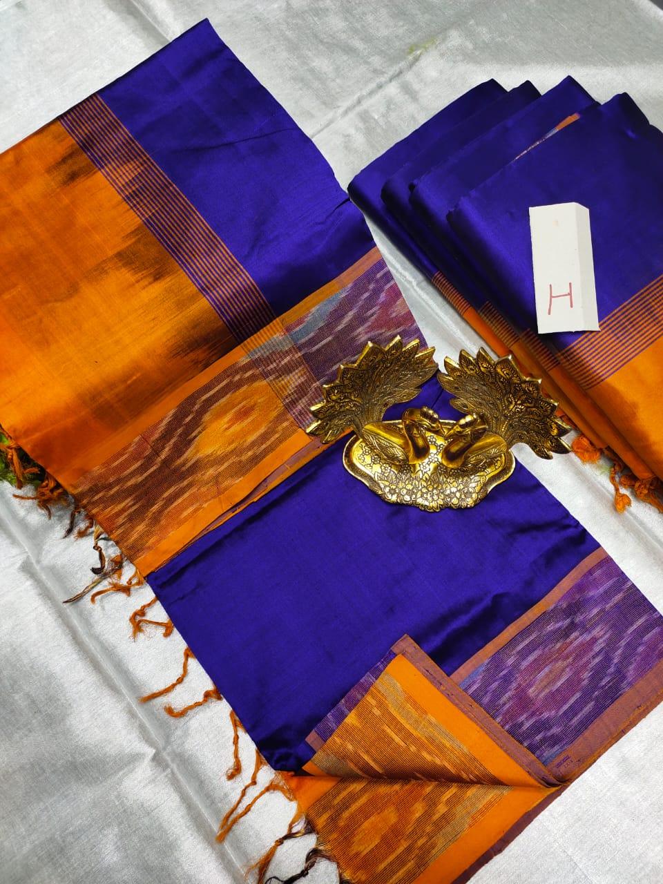 Blue and Orange Tripura silk saree with pochampalli border