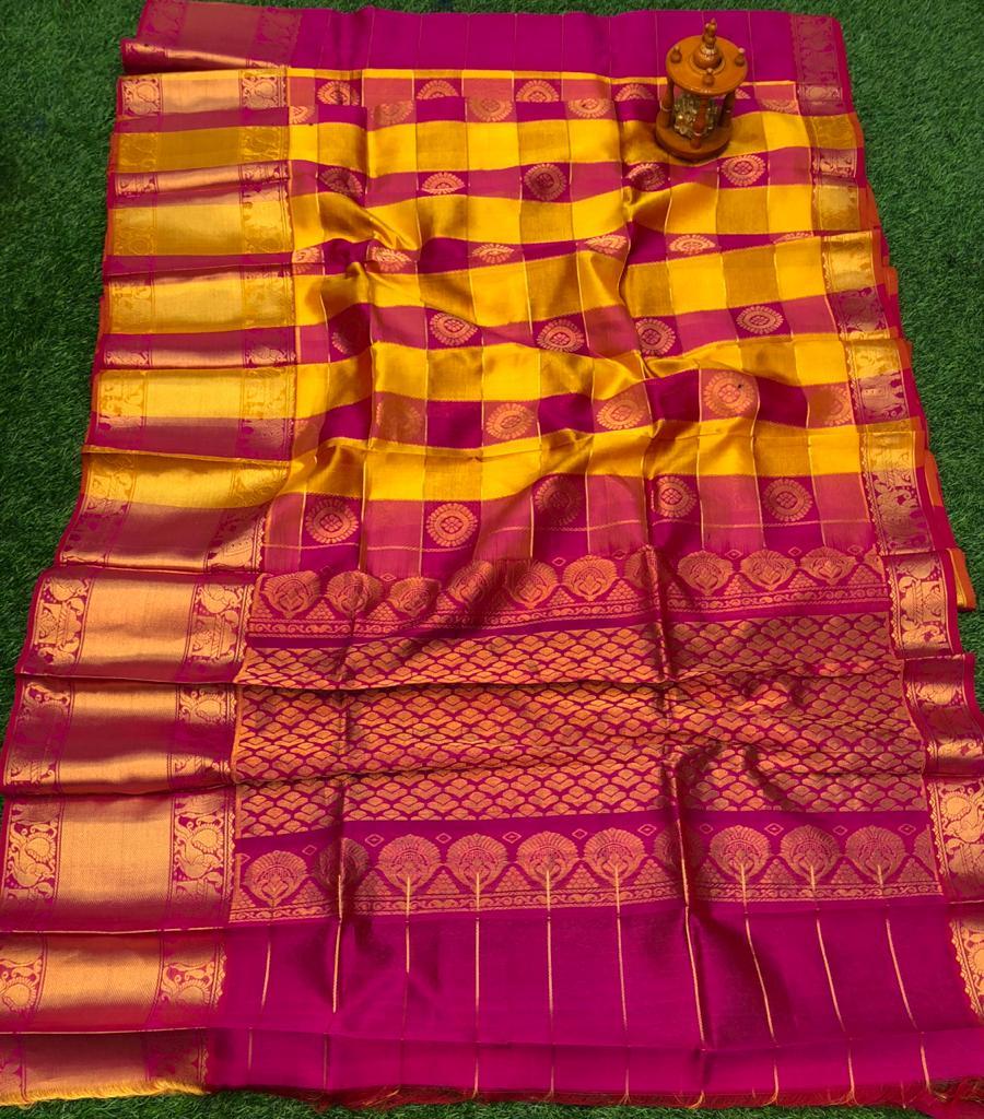 Yellow and Deep pink kuppadam silk saree