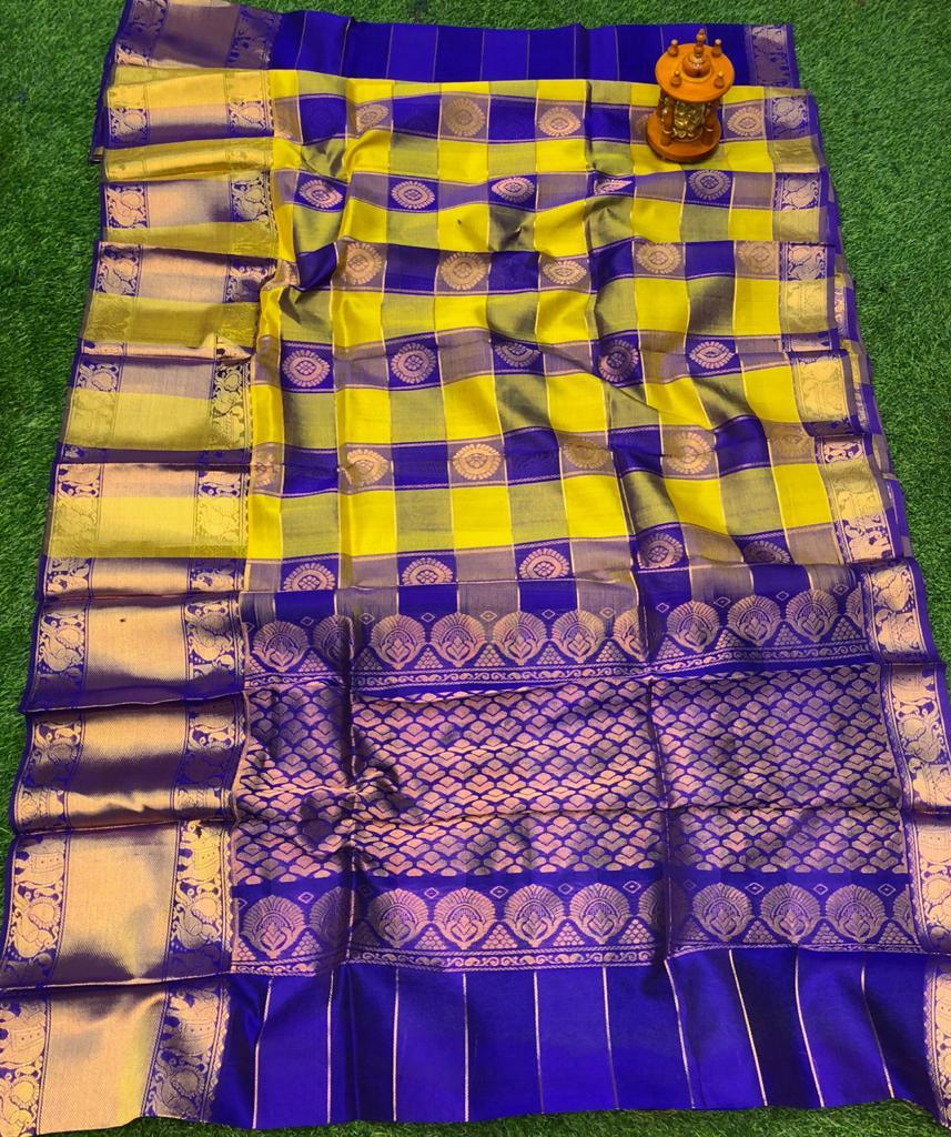 Yellow and Blue kuppadam silk saree