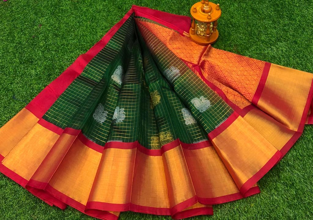 Green and Red kuppadam jill checks allover buta saree