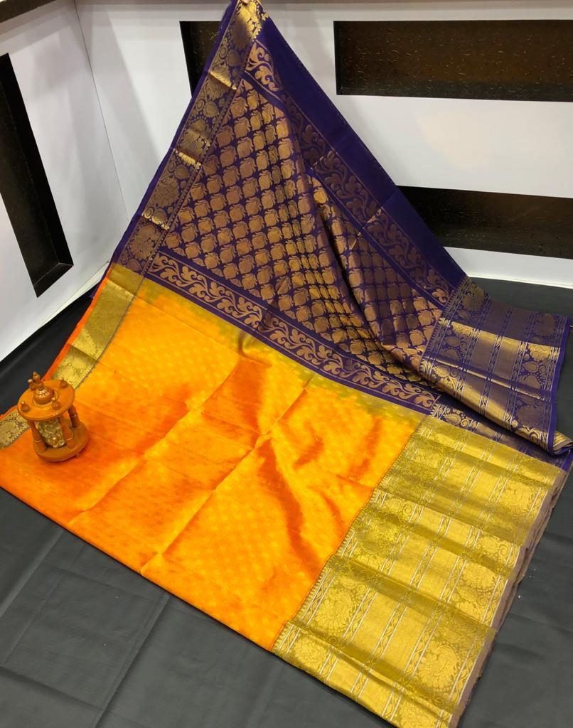 Orange and Deep blue kanchi kuppadam big border jill allover buta saree