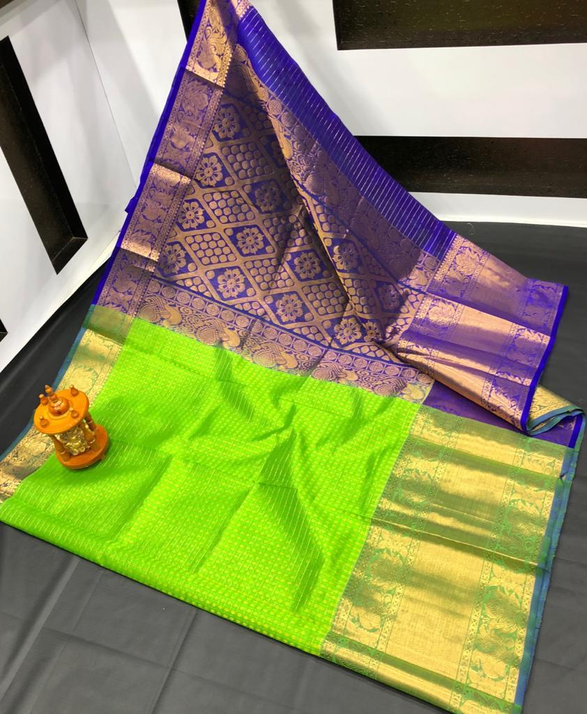 Green and Blue kanchi kuppadam big border jill allover buta saree
