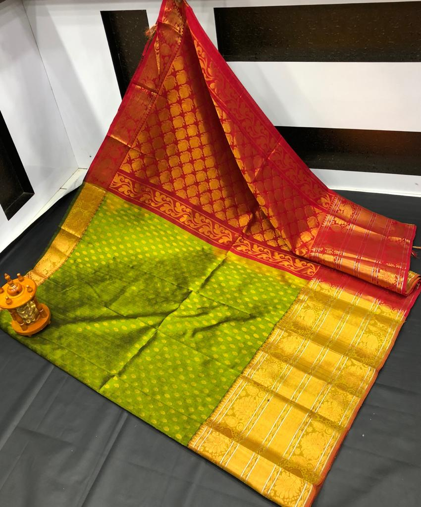 Green and Maroon kanchi kuppadam big border jill allover buta saree