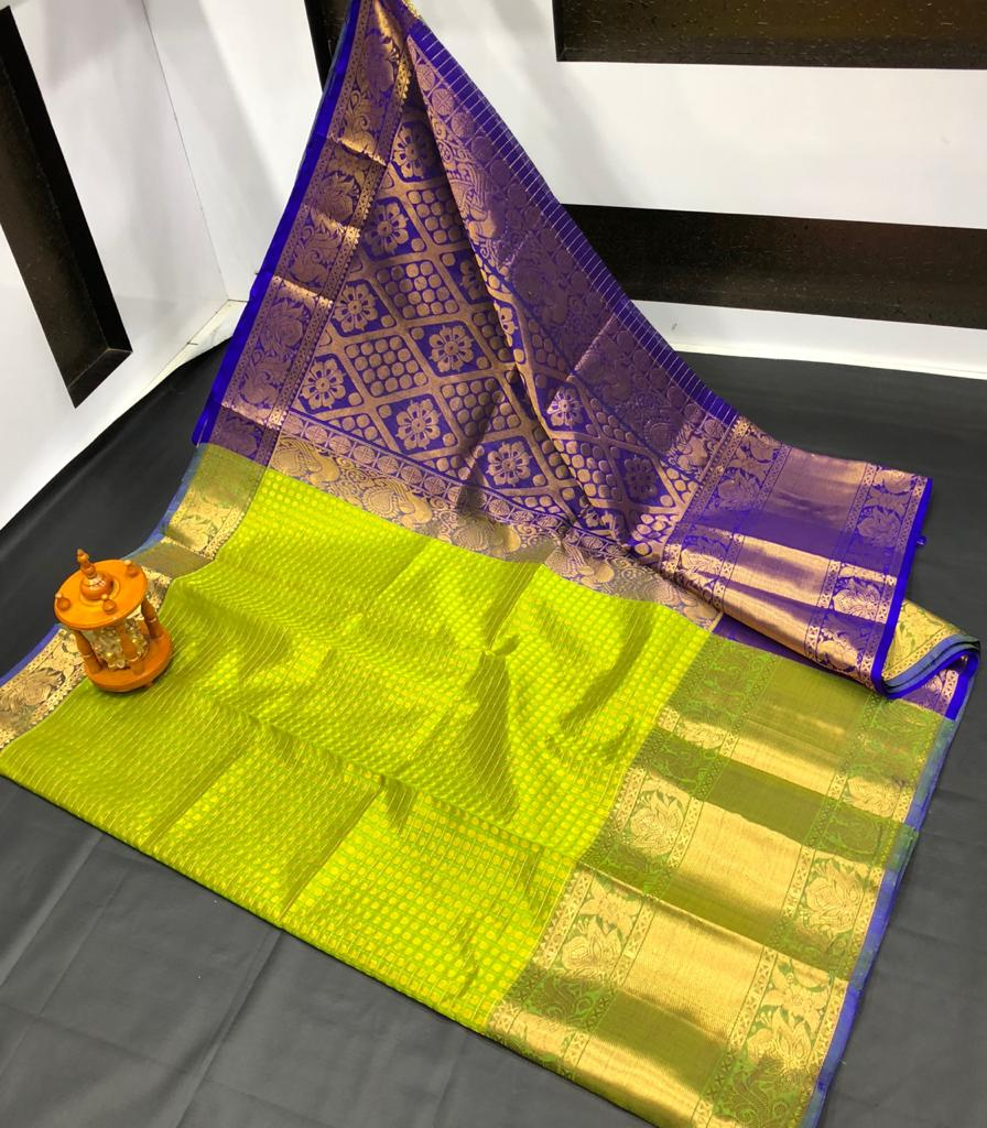 Lime green and Blue kanchi kuppadambig border jill allover buta saree