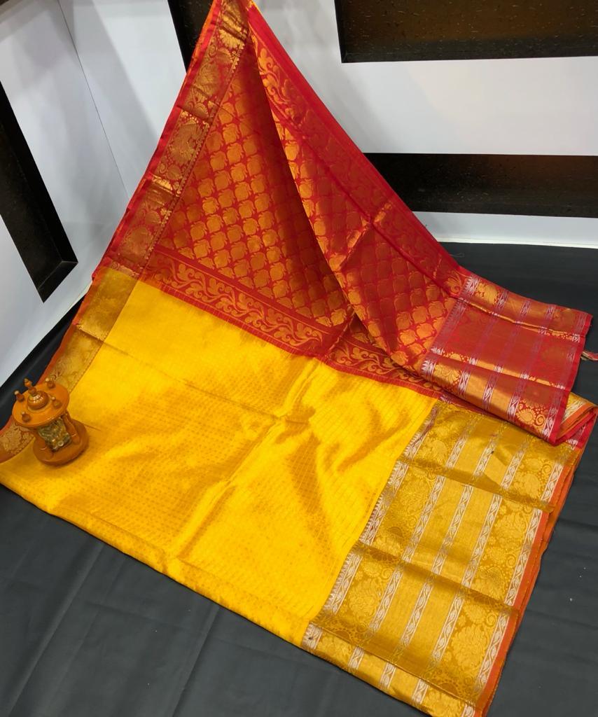 Yellow and Red kanchi kuppadam big border jill allover buta saree