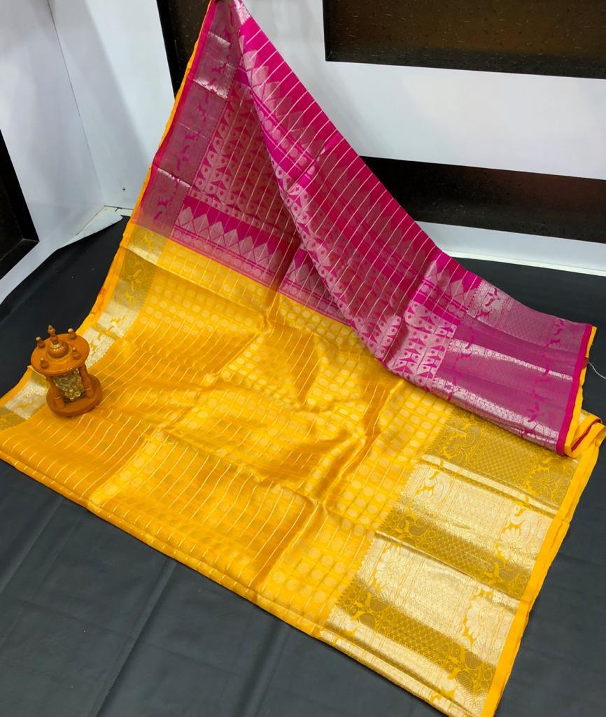 Yellow and maroon kanchi kuppadam big border jill allover buta saree