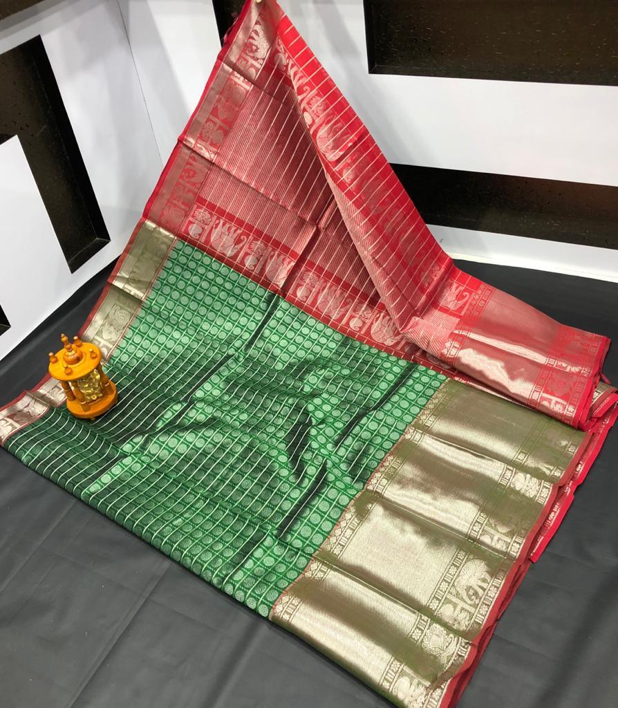 Deep green and Red kanchi kuppadam big border jill allover buta saree