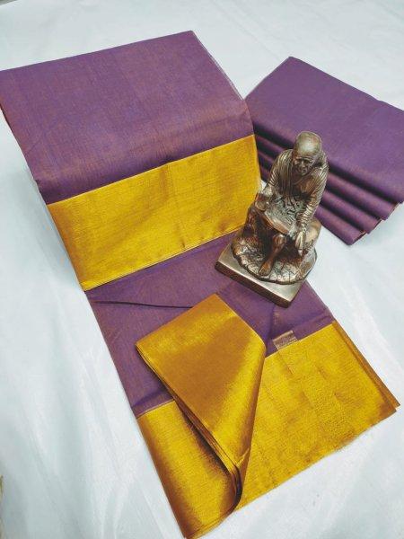 Purple and Golden yellow Tripura cotton saree