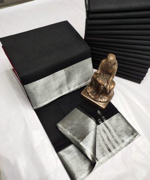 Black and Silver Tripura cotton saree