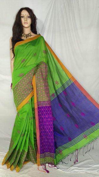 Lime green and purple handloom cotton silk saree