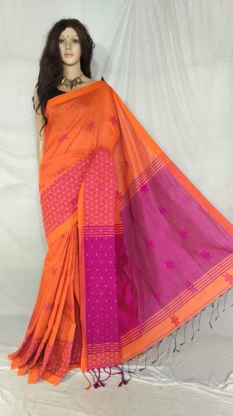 Pink and orange handloom cotton silk saree