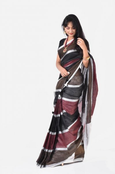 Brown, maroon and silver pure linen saree with blouse piece