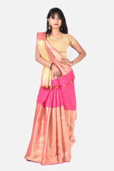 Pink and golden pure linen silk saree with blouse piece