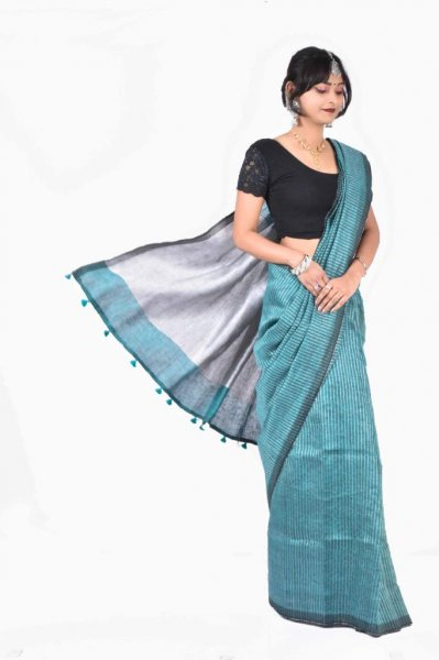 Gray and ocean green pure linen silk saree with blouse piece
