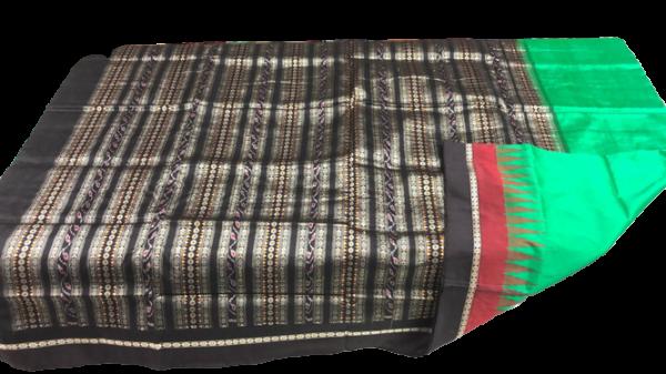 Green and black handwoven bomkai silk saree