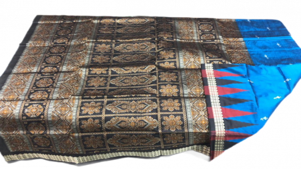 Blue and Black handwoven bomkai silk saree