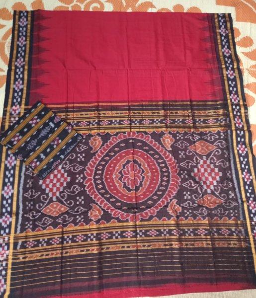 Maroon pasapalli border handwoven ikkat cotton saree