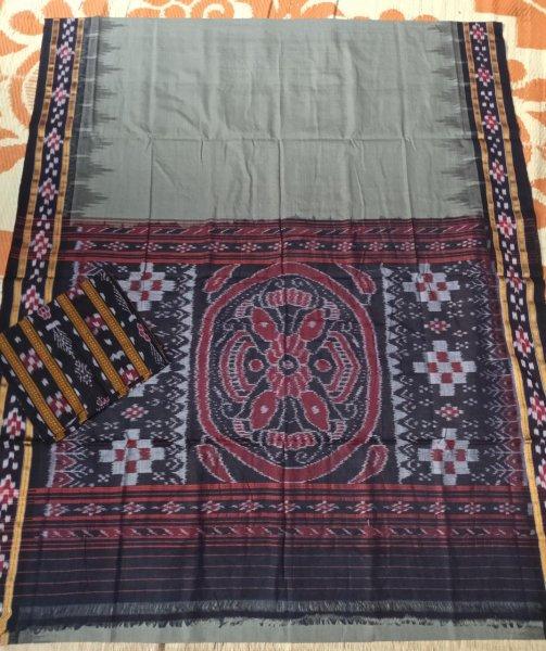 Gray pasapalli border handwoven ikkat cotton saree